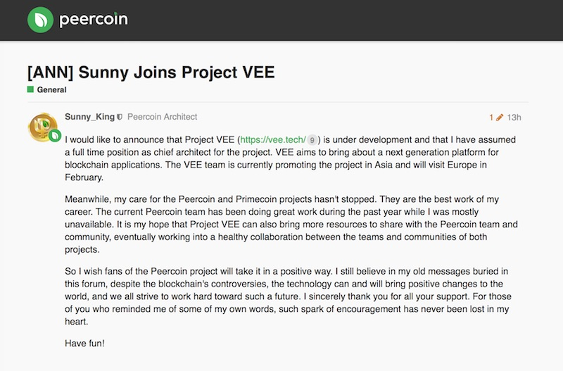 Sunny King Project VEE