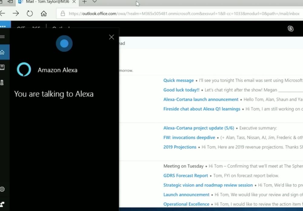 还挺方便,微软演示 Alexa 和 Cortana 的整合